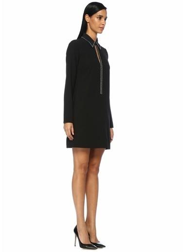 Victoria Victoria Beckham Gömlek Yaka Taş Şeritli Mini Elbise Siyah